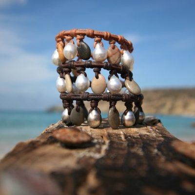 leather stone bracelet st barth jewelry