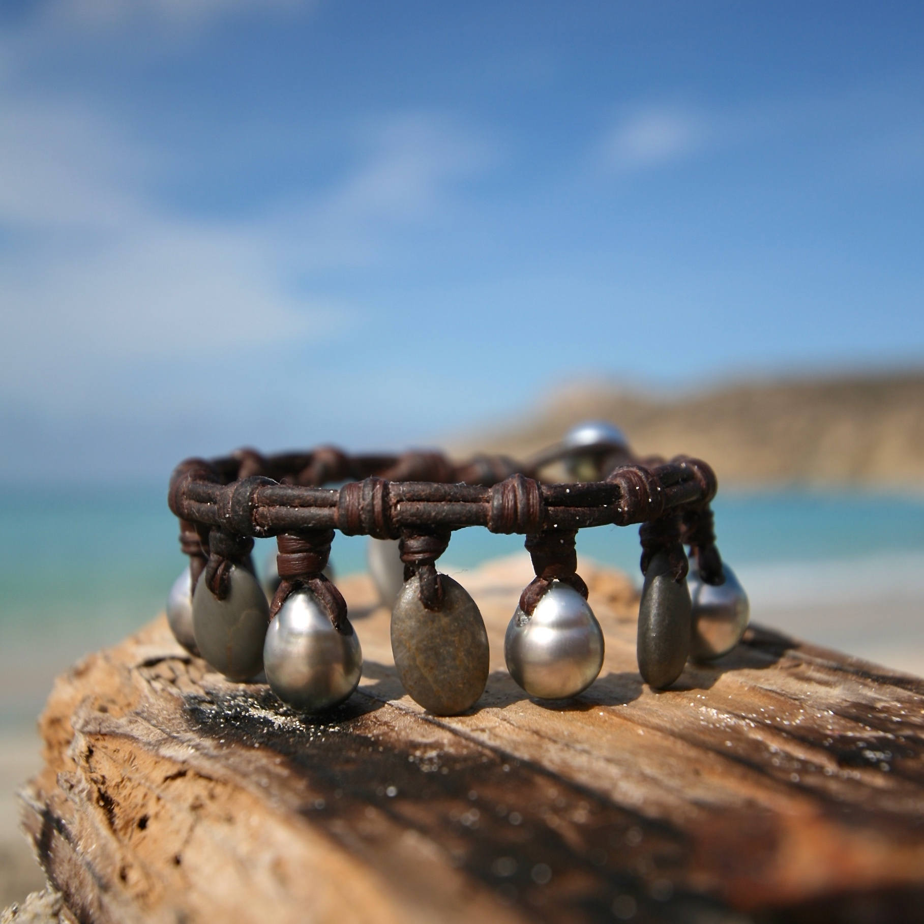 pearls and stone bracelet St barthelemy