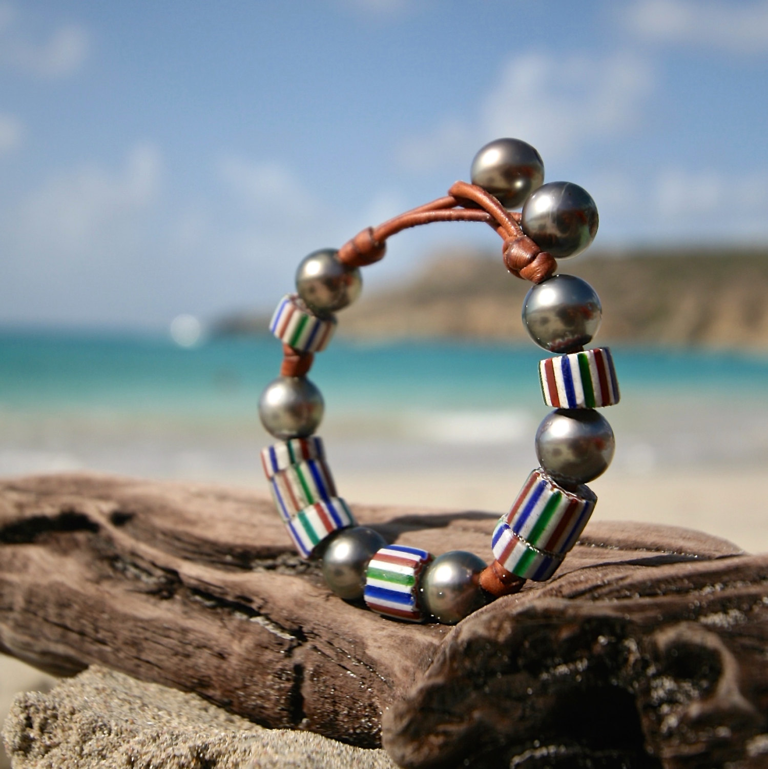 pearl and leather handcrafted jewelry