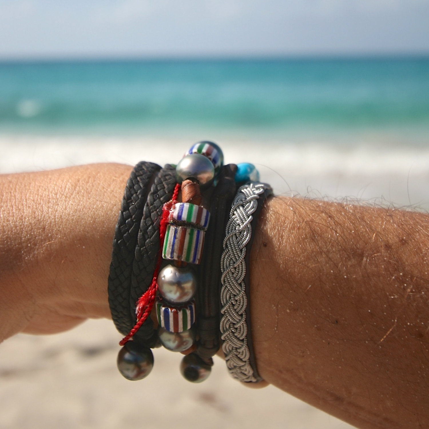 pearl and leather bracelet st barth