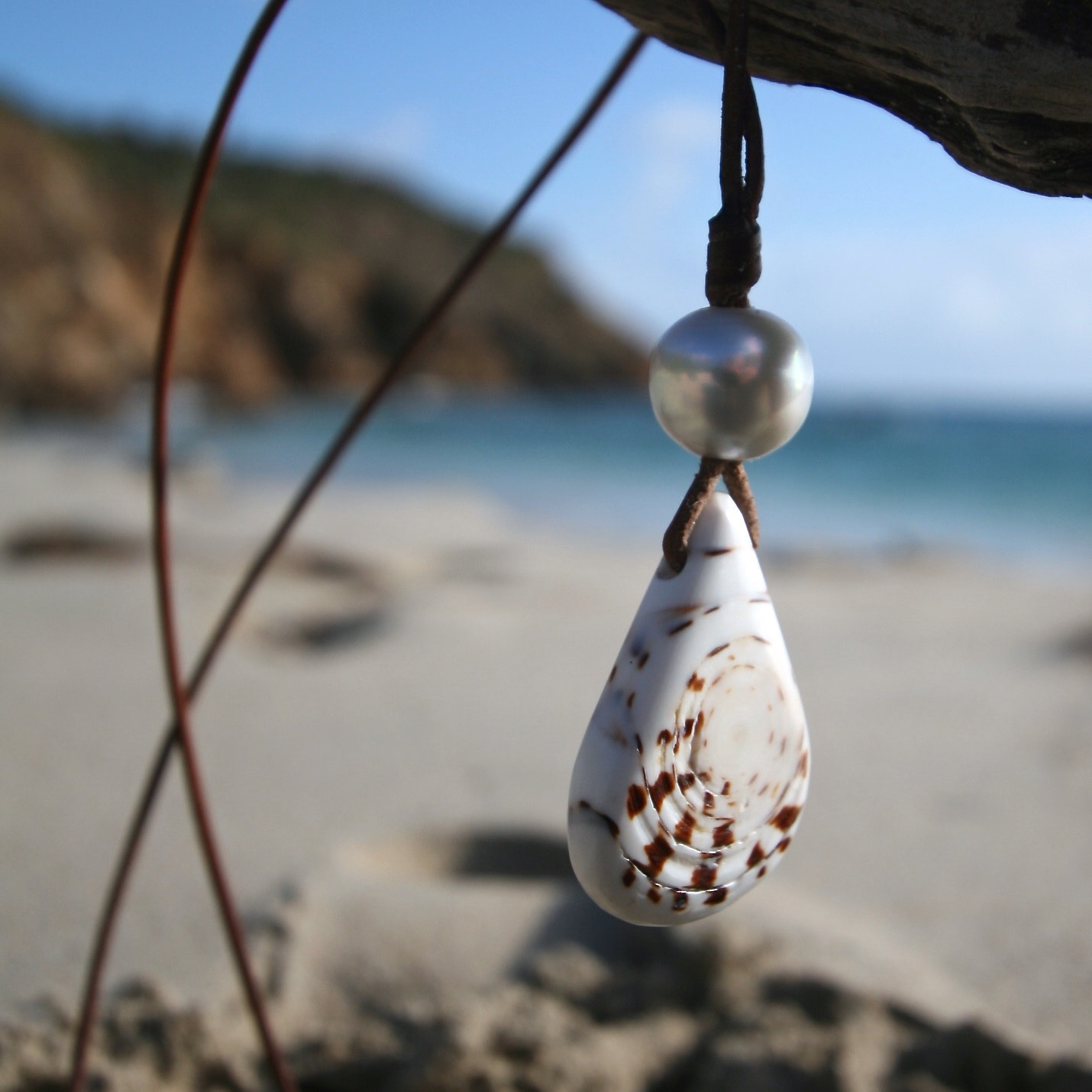 shell leather necklace st barth jewelry