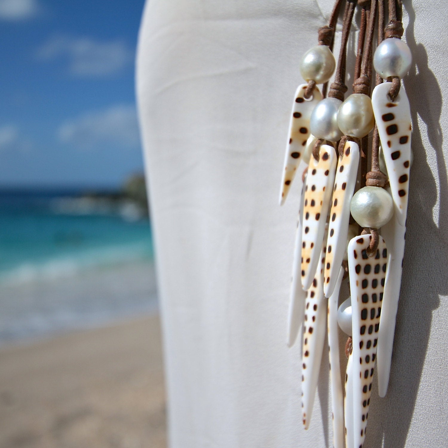 shell pearls necklace St Barths jewelry