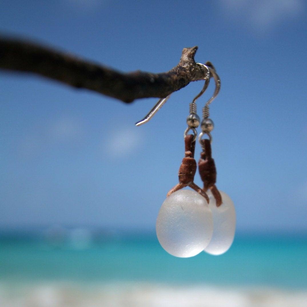 St Barth pearl leather sea glass jewelry