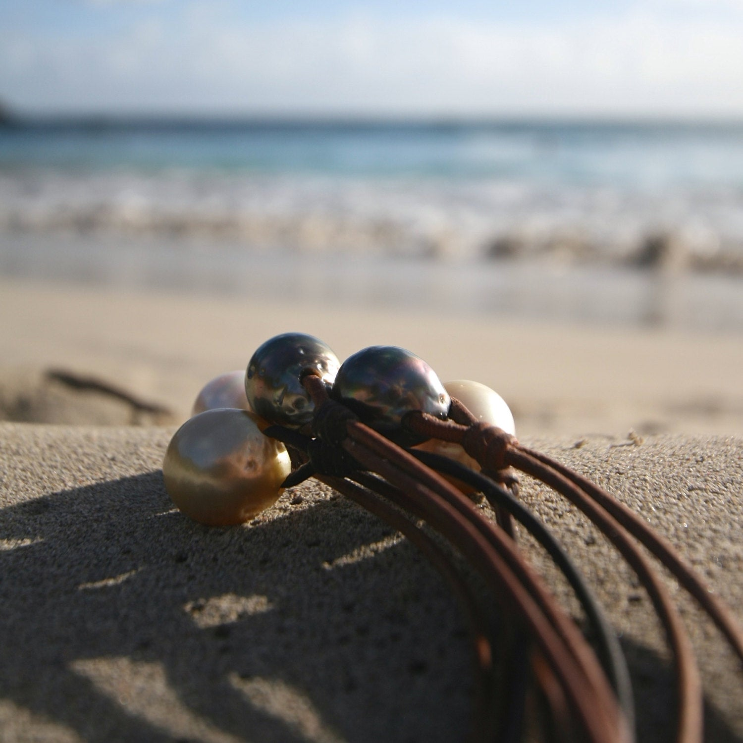 leather pearls necklace st barth