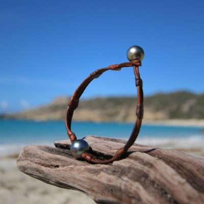 St Barths pearls and leather jewelry