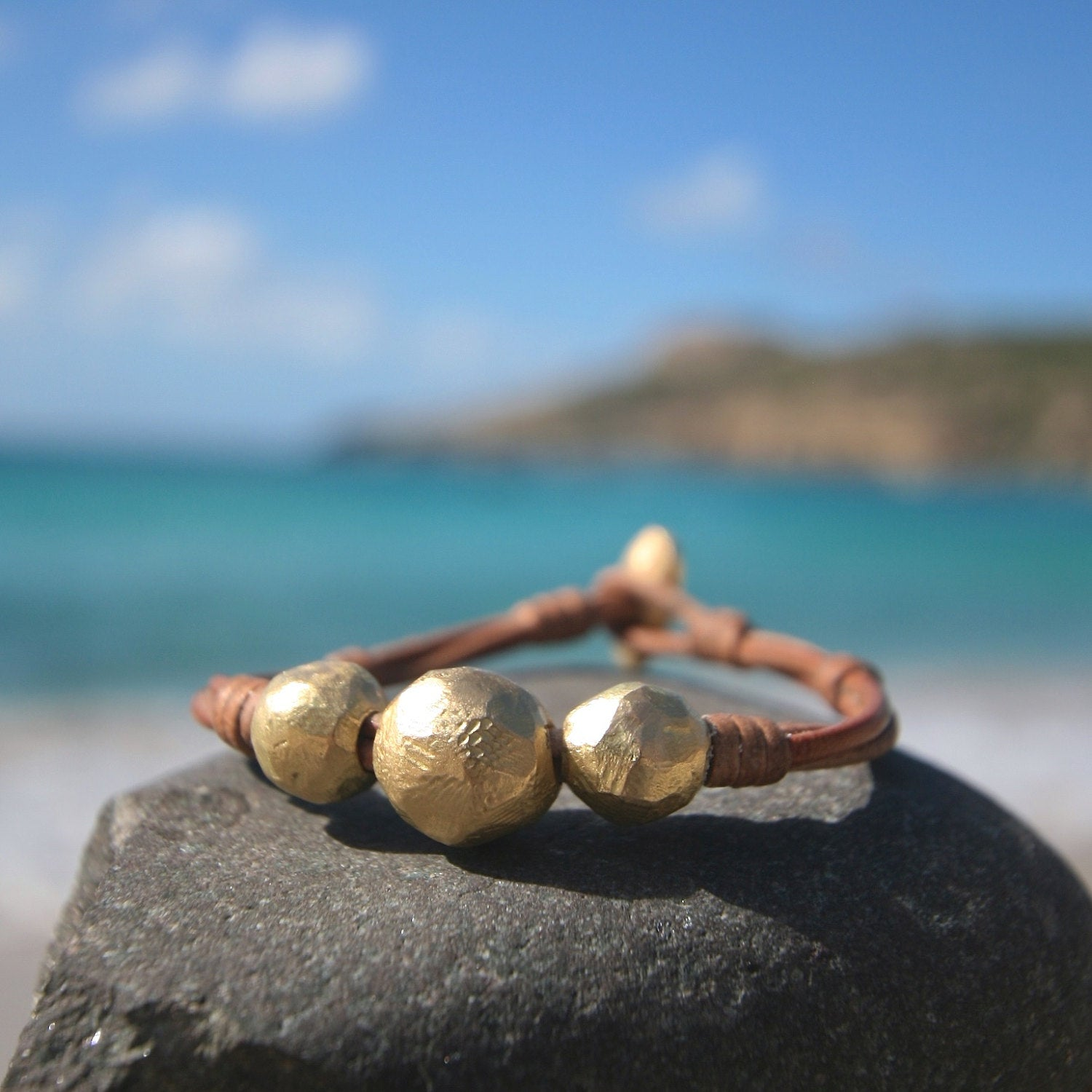 Solid 18k handmade gold beads strungs on leather. luxury jewelry, one of a kind solid gold design, St Barth island, genuine plain gold beads