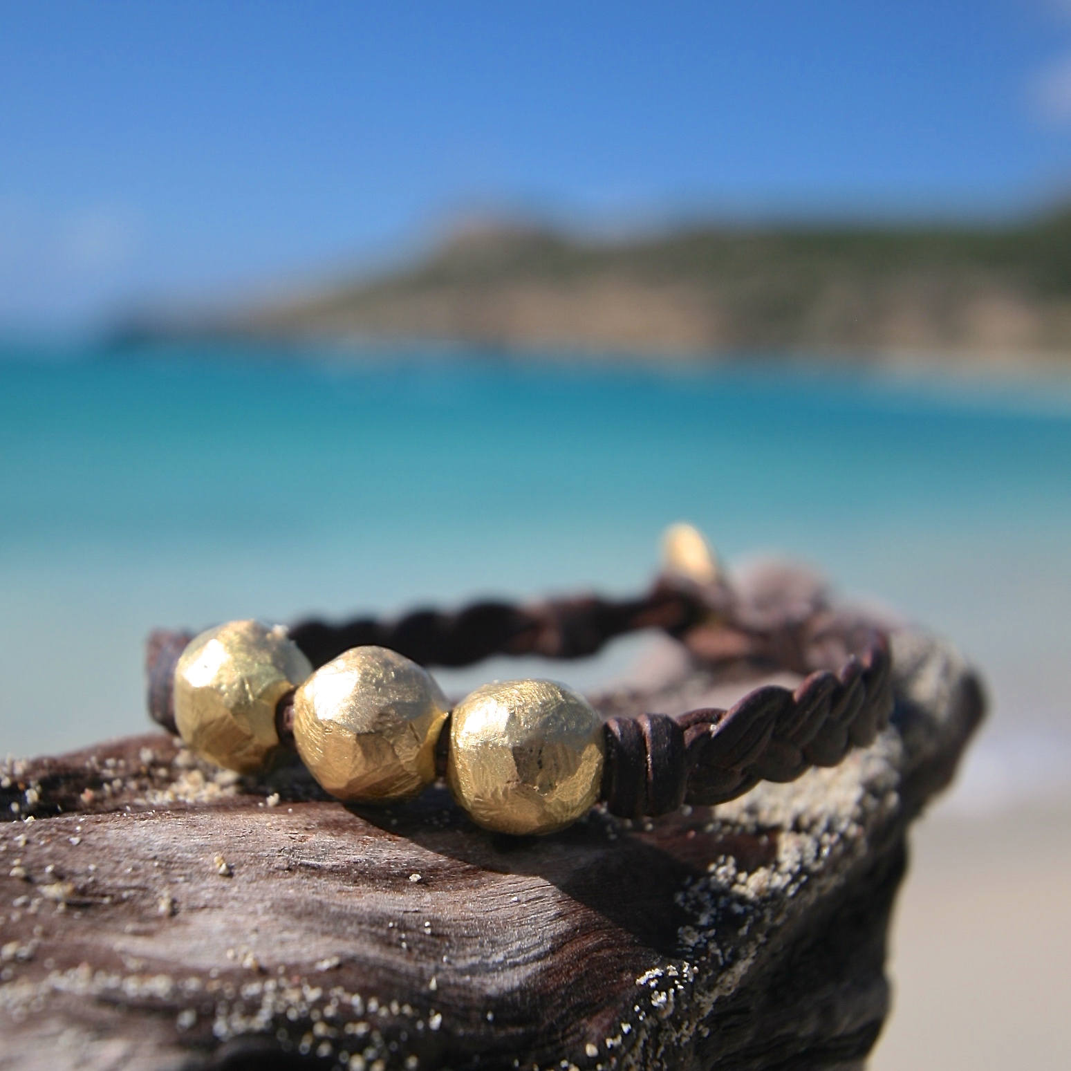 Solid 18k handmade little gold beads strungs on leather. luxury jewelry, one of a kind solid gold design, St Barth, genuine plain gold beads