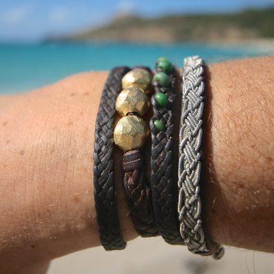 Tahitian pearls leather jewelry stbarth