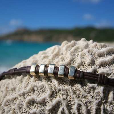 gold and leather Bracelet St Barth jewelry