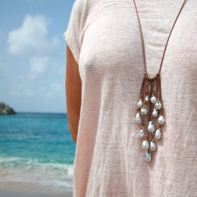 pearls and leather necklace st barth