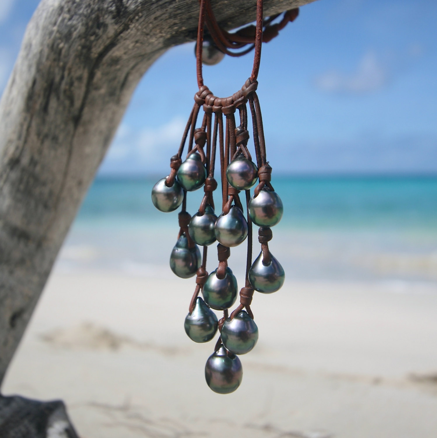 tahitian pearls cluster necklace st barth jewelry