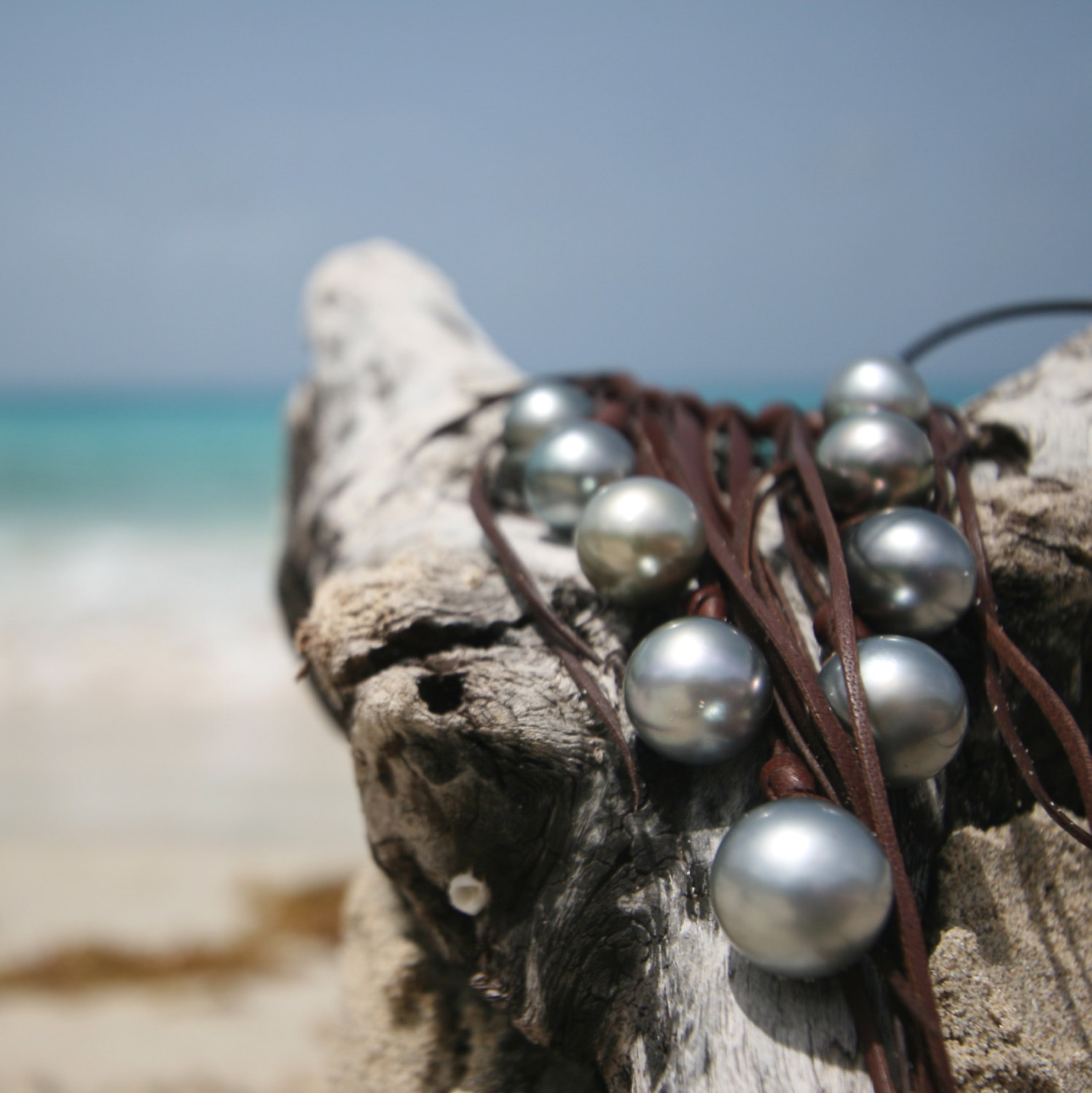 Pearls leather necklace St Barth jewelry