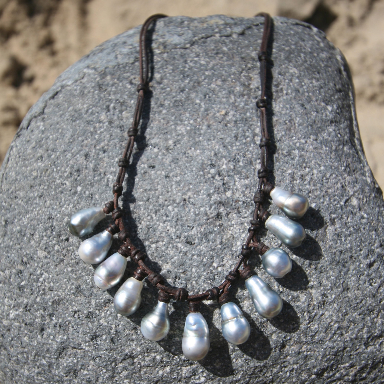 leather necklace pearls St Barths jewelry