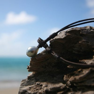 pearl clasp leather necklace st barth