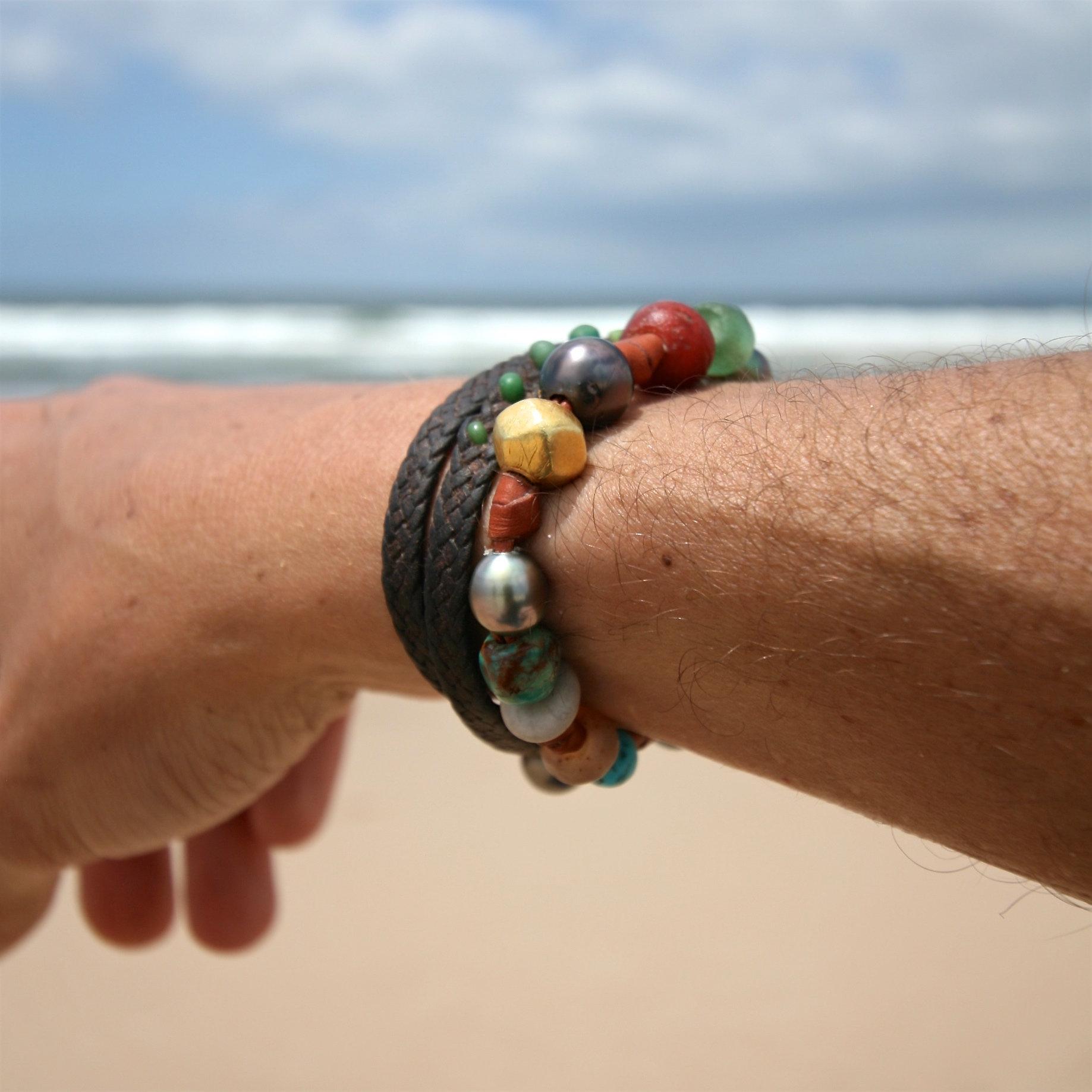 pearls leather bracelet jewelry st barth