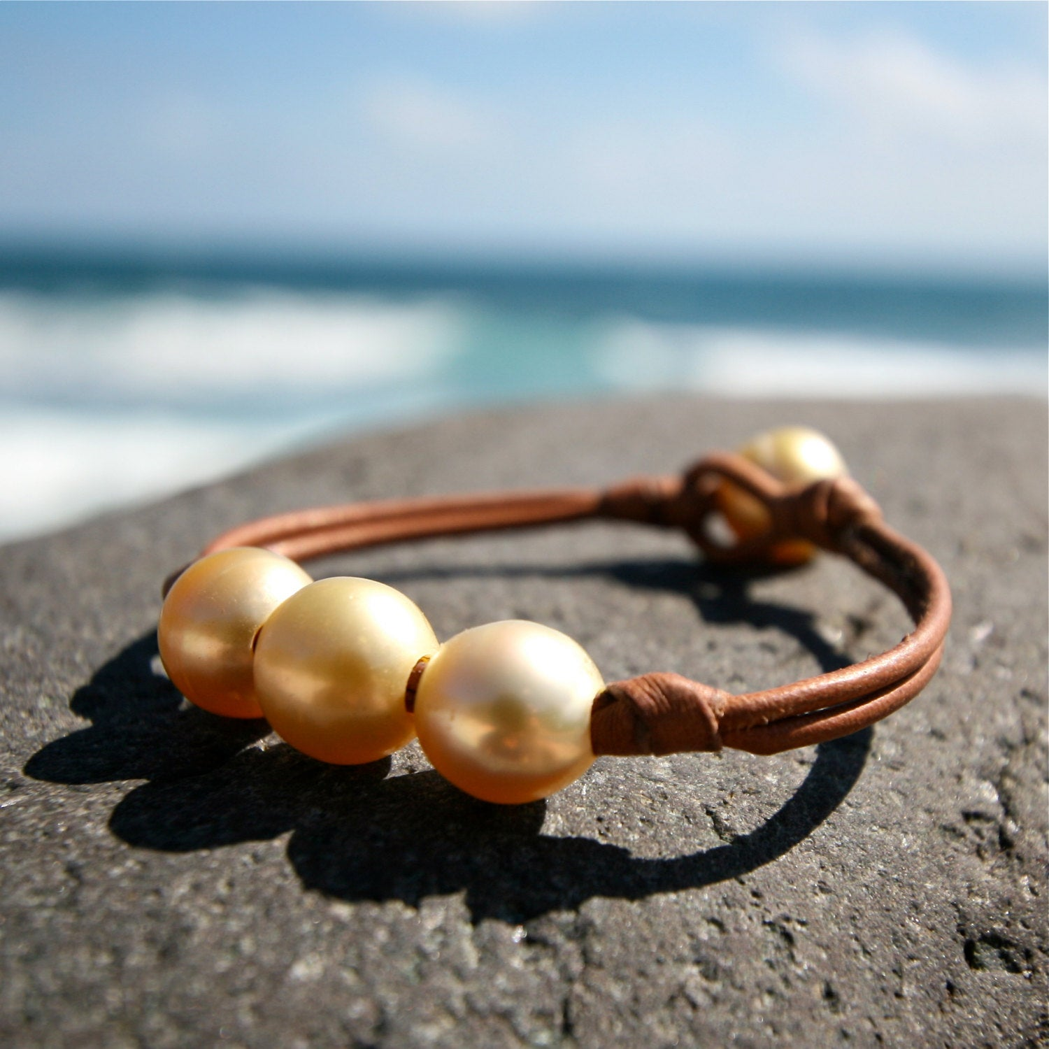 gold pearls leather jewelry St Barth
