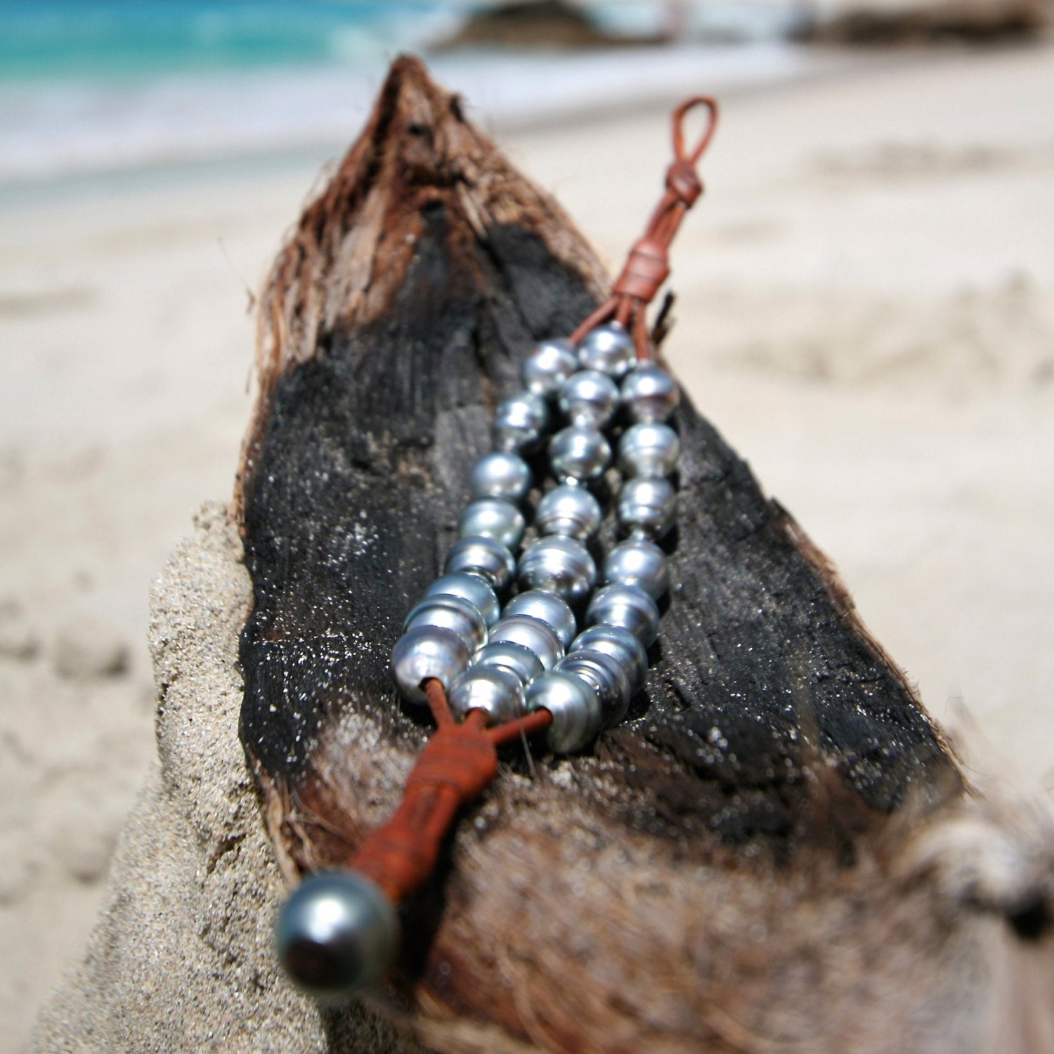 St Barths pearl leather jewelry