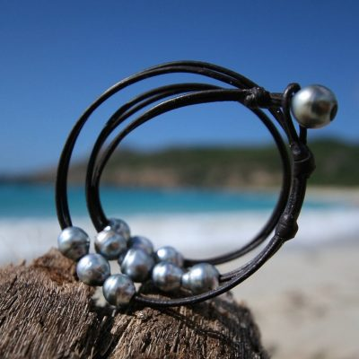 Leather St Barts jewelry wrap bracelet