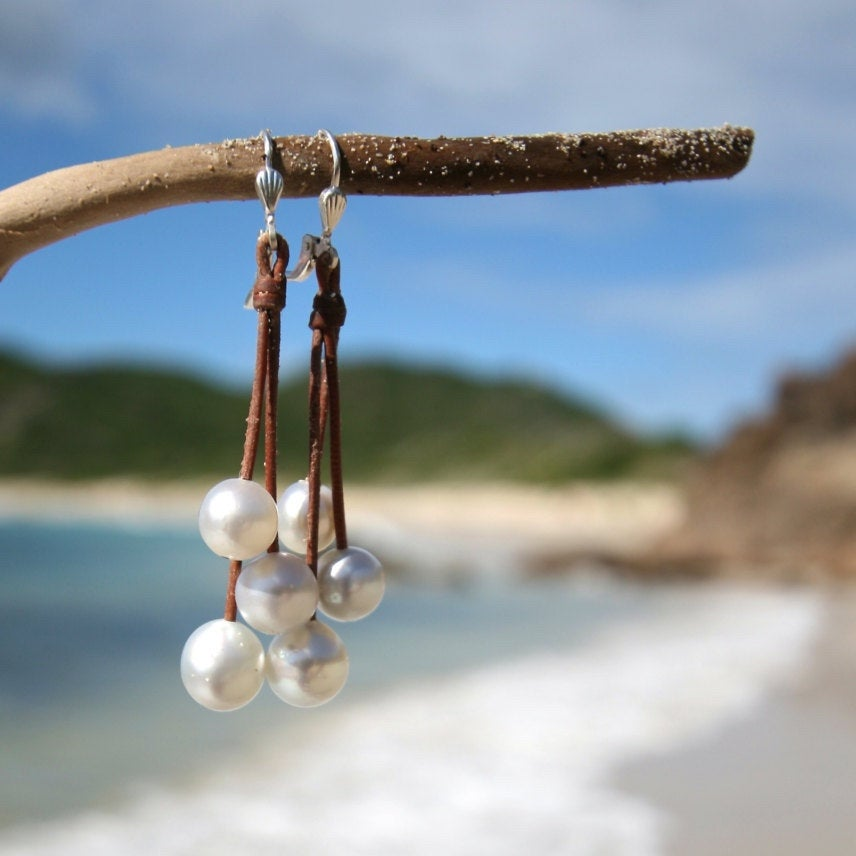 Waterfall earrings of white Australian cultured pearls, leather and pearls, beach jewelry, St Barth, boho inspiration, gypset