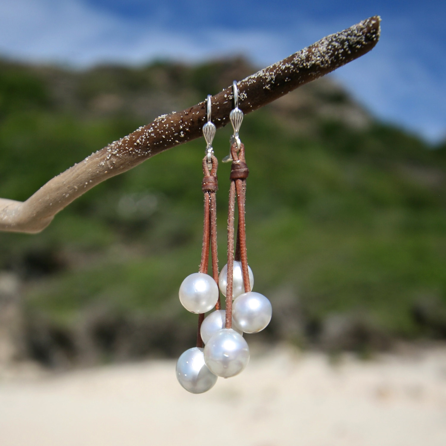 St barth white pearls shop earrings