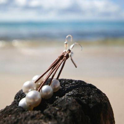 St Barth jewelry leathered pearls earrings