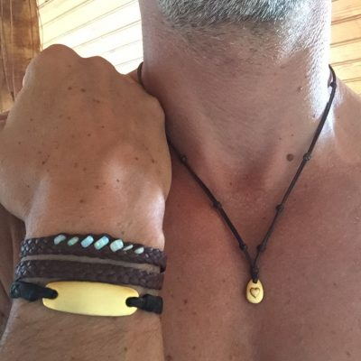 necklace st barth jewelry leather gold