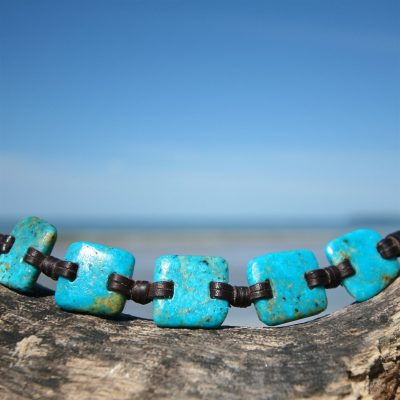 turquoise on leather Jewelry st barth