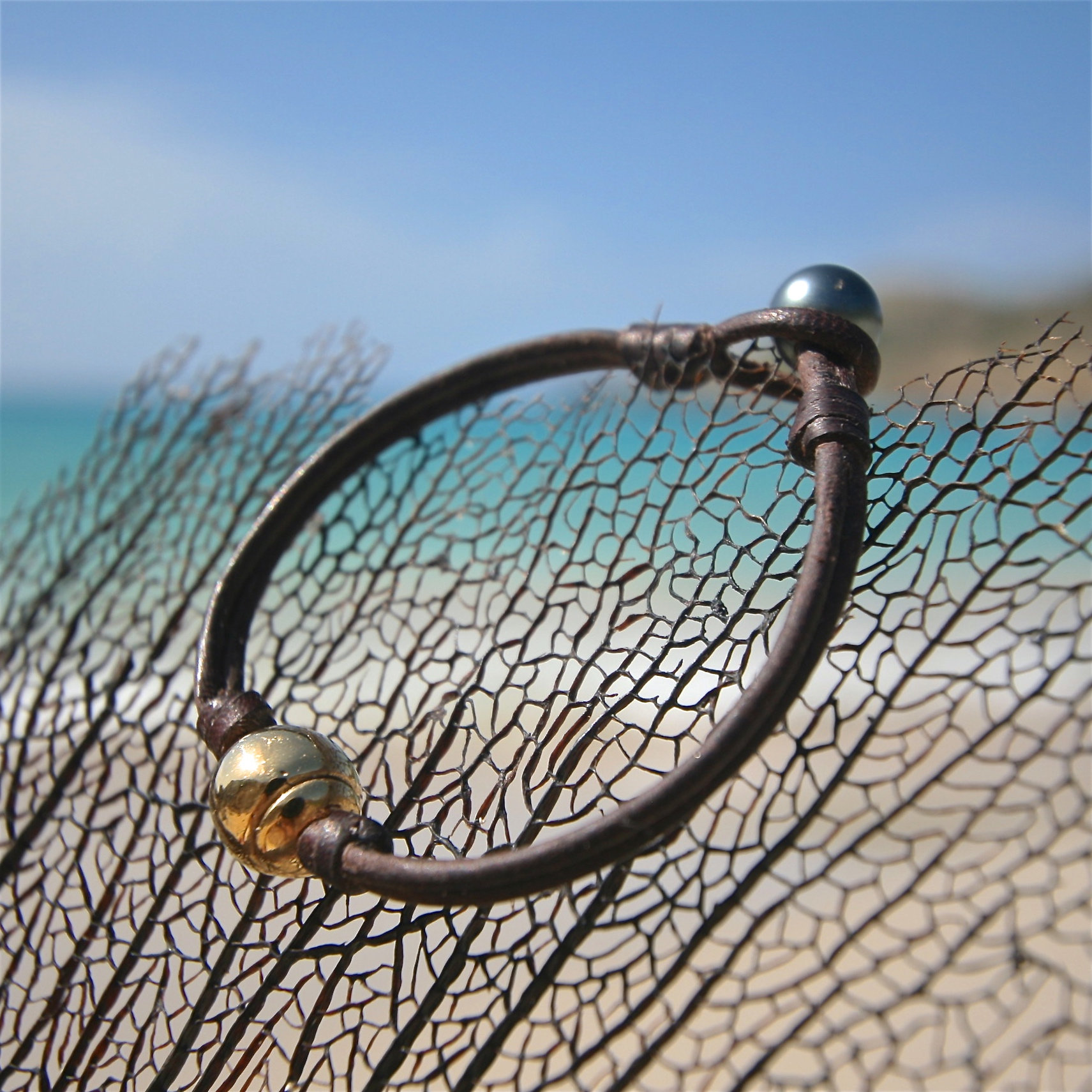 gold beads leather St Barth jewelry