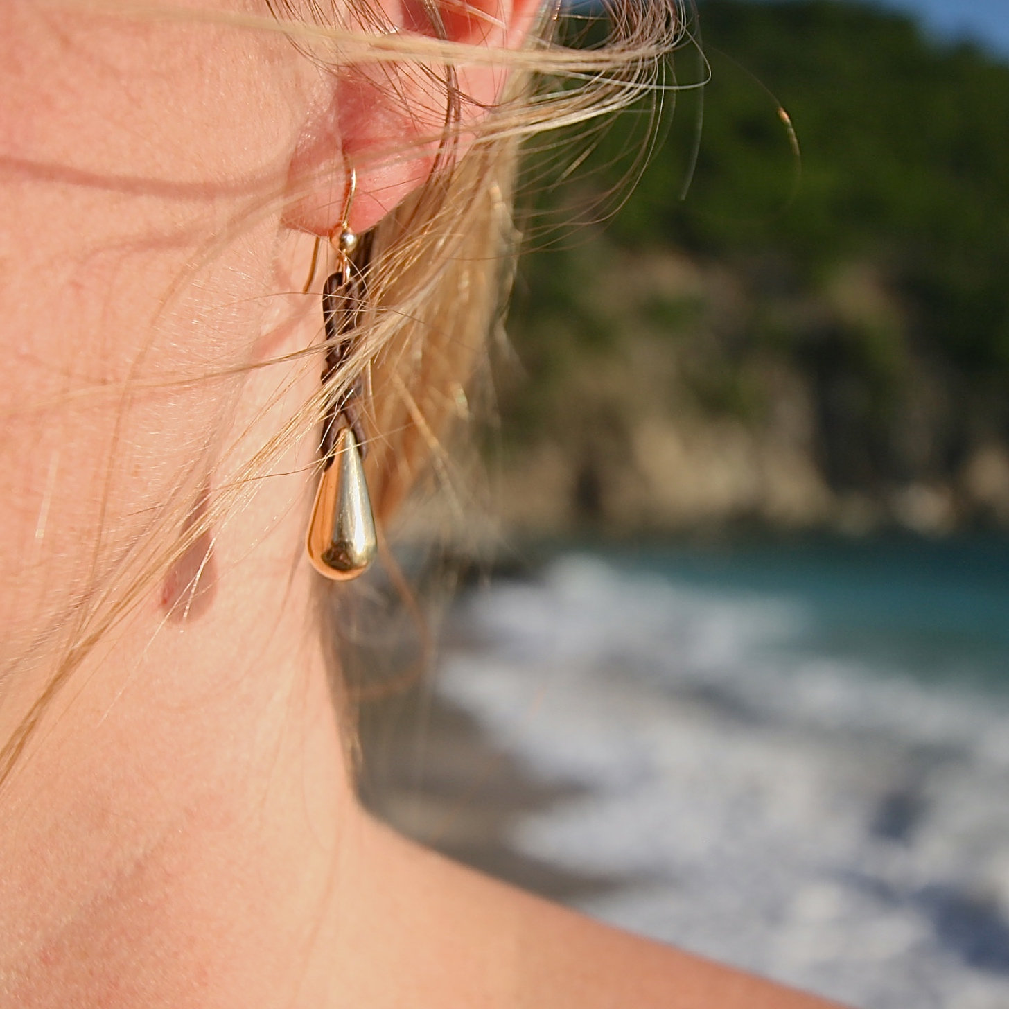 St Barth jewelry earrings gold leather