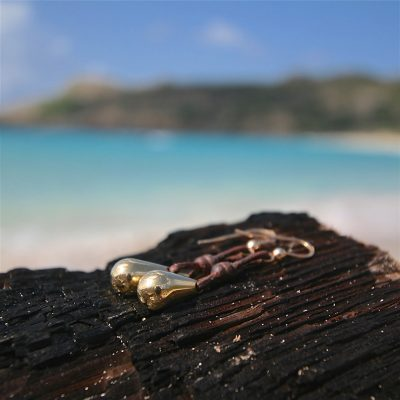 gold drops leather earrings St Barth jewelry