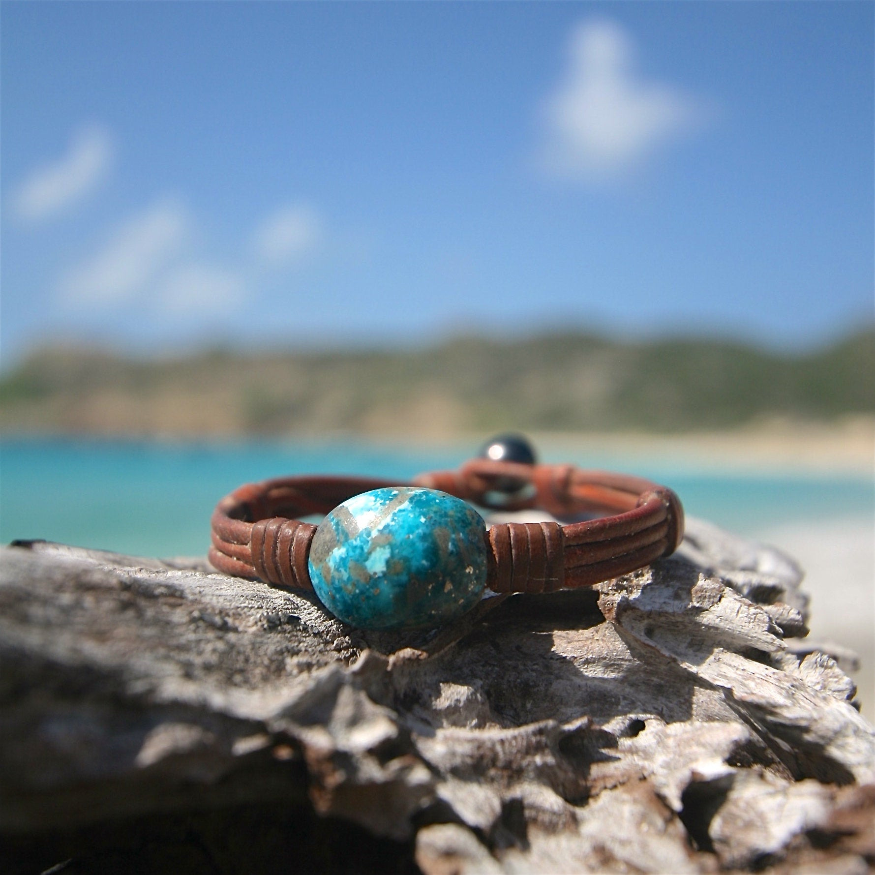 leather turquoise men St Barth jewelry