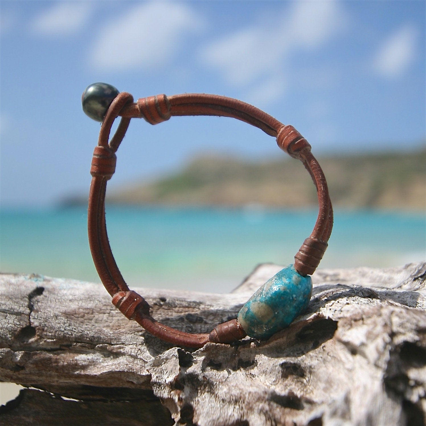 turquoise leather bracelet St Barth jewelry