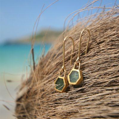 earrings emerald gold jewelry St Barth