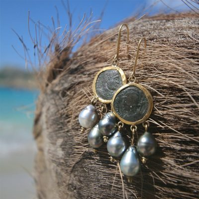 St Barth jewelry antique coin earrings
