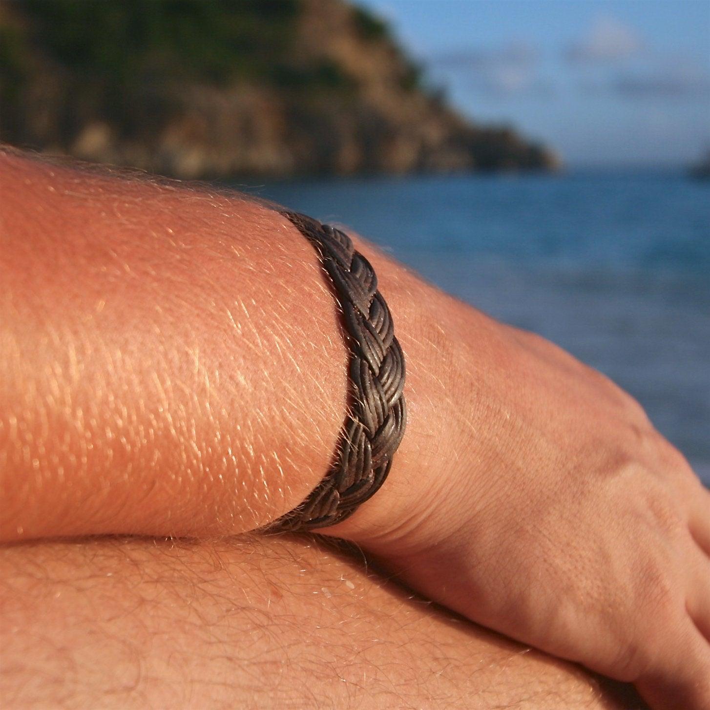 St Barts jewelry leather mens bracelet