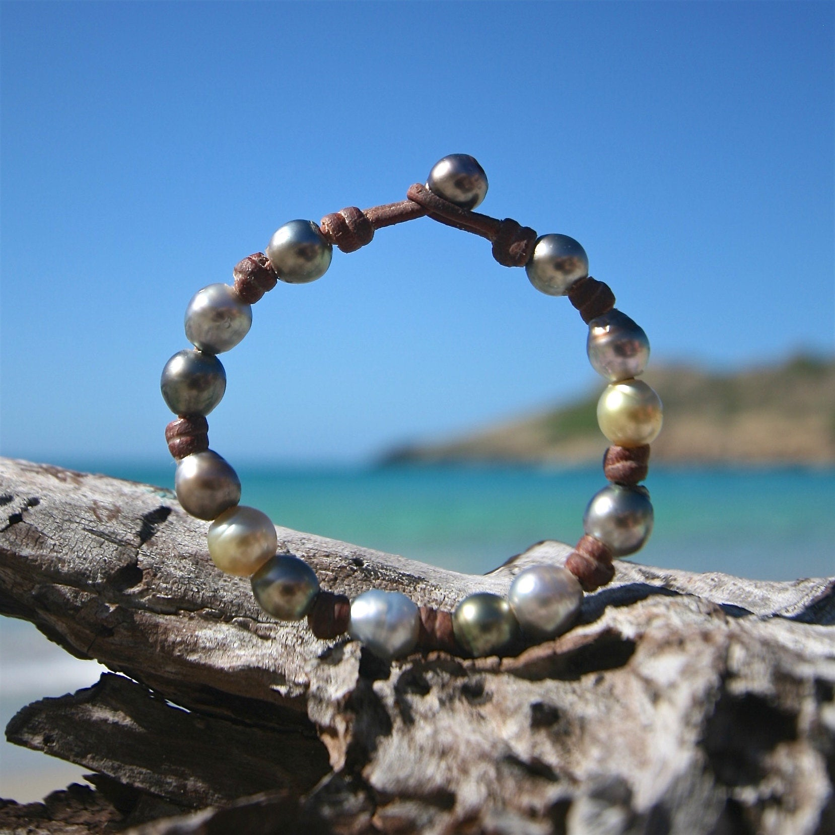 St Barth jewelry leather pearls bracelet