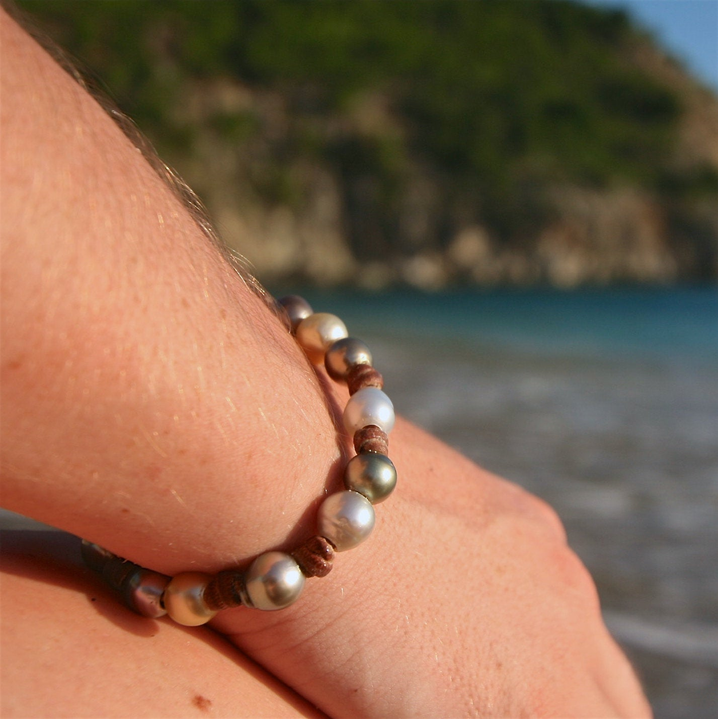 Pearls leather bracelet St Barth jewelry